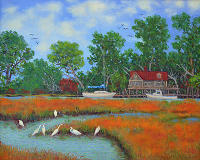 Painting - 7 Egrets by Dwain Ray