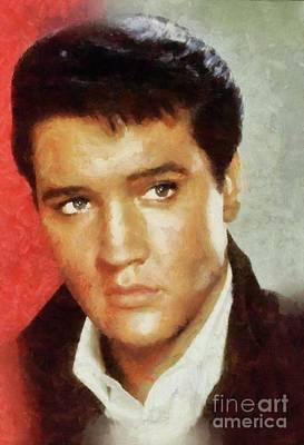 Music Paintings - Elvis Presley, Rock and Roll Legend by Esoterica Art Agency