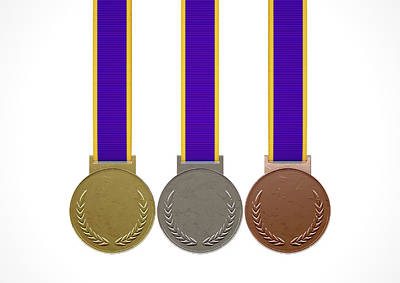 First Second And Third Medals Art Print by Allan Swart