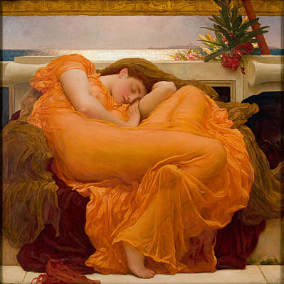 Flaming June Painting - Flaming June by Frederic Leighton