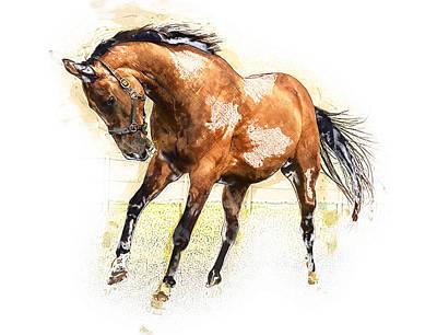 Horse Art Print by Elena Kosvincheva