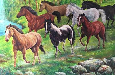 Painting - 7 Horses Are Coming by Manuel Cadag