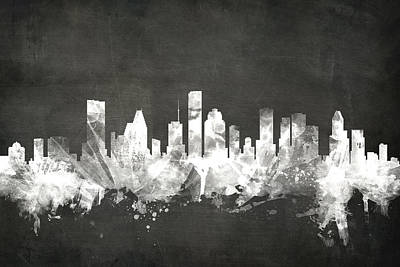 Blackboards Digital Art - Houston Texas Skyline by Michael Tompsett