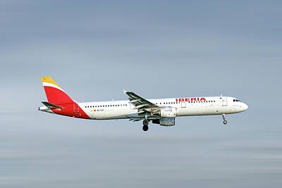 Mixed Media - Iberia Airbus A321-212 by Smart Aviation