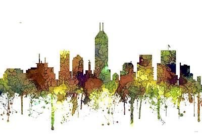 Indiana Landscapes Digital Art - Indiana Indianapolis Skyline by Marlene Watson