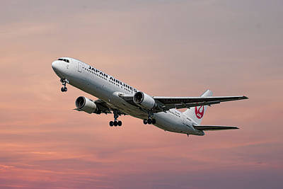 Mixed Media - Japan Airlines Boeing 767-346 by Smart Aviation