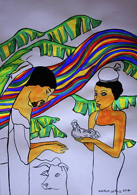 Painting - Kintu And Nambi The Folktale by Gloria Ssali
