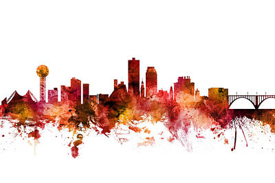 Digital Art - Knoxville Tennessee Skyline by Michael Tompsett