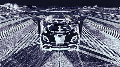 Digital Art - Koenigsegg One  by PixBreak Art