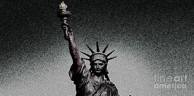 Lady Liberty Painting - Lady Liberty by Celestial Images