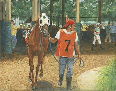 Racetrack Painting - #7 Leading Horse At Racetrack by Don  Langeneckert