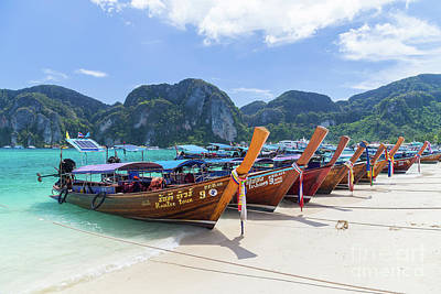 Photograph - Long-tail boats, the Andaman Sea and hills in Ko Phi Phi Don, Th by Travel and Destinations - By Mike Clegg