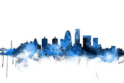 Cityscape Digital Art - Louisville Kentucky City Skyline by Michael Tompsett