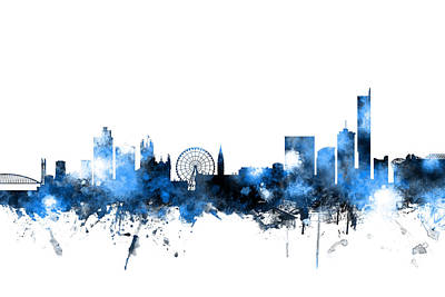 Great Britain Digital Art - Manchester England Skyline by Michael Tompsett