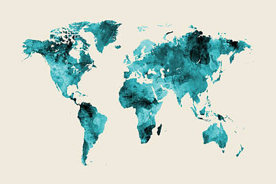 Digital Art - Map Of The World Map Watercolor by Michael Tompsett