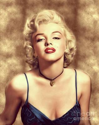 Actors Royalty Free Images - Marilyn Monroe, Actress and Model Royalty-Free Image by Mary Bassett