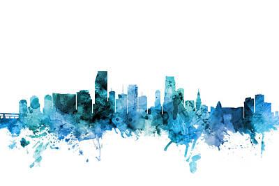 Digital Art - Miami Florida Skyline by Michael Tompsett