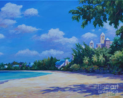 Caribbean Sea Painting - 7-mile Beach Ritz Carlton   20x16 by John Clark