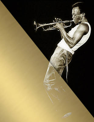 Trumpet Drawing - Miles Davis Collection by Marvin Blaine