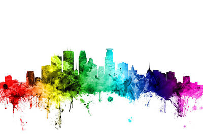 Rainbow Digital Art - Minneapolis Minnesota Skyline by Michael Tompsett