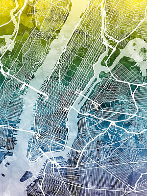 Digital Art - New York City Street Map by Michael Tompsett