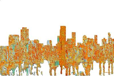 Digital Art - Newark  New Jersey Skyline by Marlene Watson