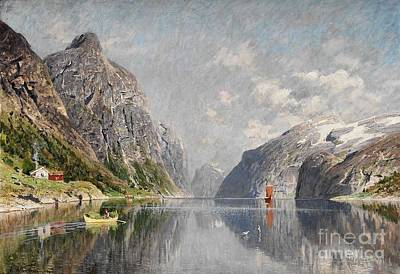 Painting - Norwegian Fjord Landscape by Celestial Images