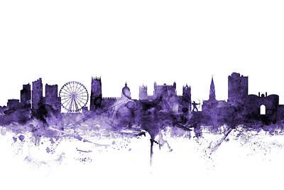 Digital Art - Nottingham England Skyline by Michael Tompsett