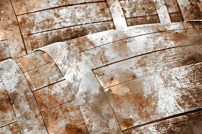 Cask Photograph - Oak Wine Barrel Close Up by Brandon Bourdages