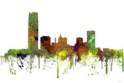 Digital Art - Oklahoma City Oklahoma Skyline by Marlene Watson