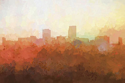 Digital Art - Omaha Nebraska Skyline by Marlene Watson