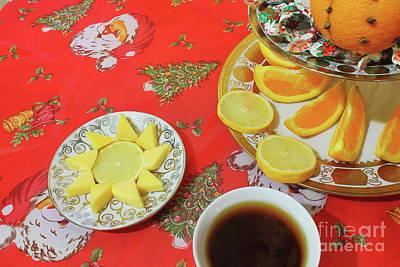 On The Eve Of Christmas. Tea Drinking With Cheese. Art Print by Mariia Kilina