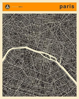 Paris Map Digital Art - Paris Map by Jazzberry Blue