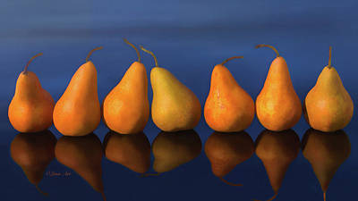Photograph - 7 Pears Reflection  by OLena Art Brand