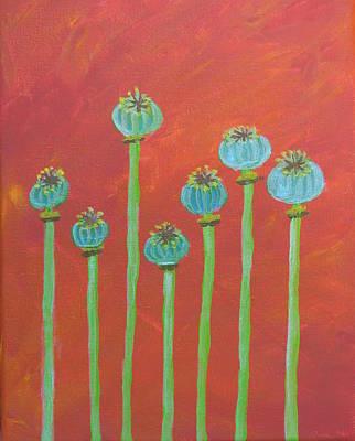 Painting - 7 Poppy Seed Pods by Lynn-Marie Gildersleeve