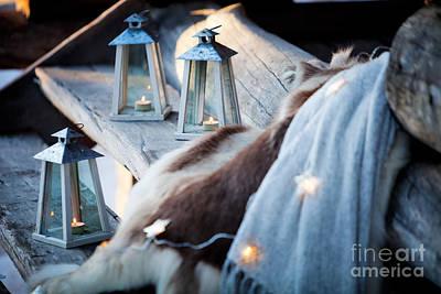 Snowy Night Photograph - Porch Decoration by Kati Molin