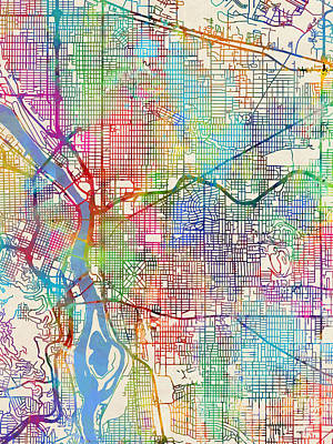 Oregon City Digital Art - Portland Oregon City Map by Michael Tompsett