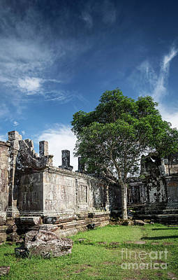 Pop Art - Preah Vihear Famous Ancient Temple Ruins Landmark In Cambodia by JM Travel Photography
