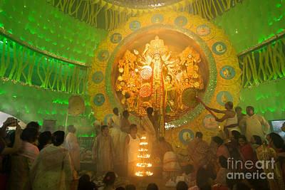 Durga Puja Photograph - Priest Praying To Goddess Durga Durga Puja Festival Kolkata India by Rudra Narayan  Mitra