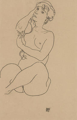 Drawing - Reclining Nude by Egon Schiele