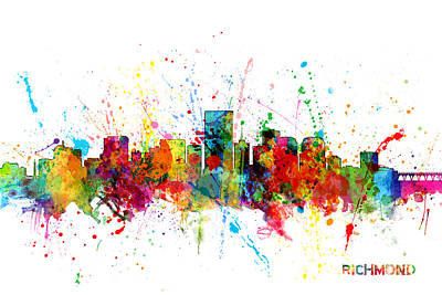 Richmond Virginia Digital Art - Richmond Virginia Skyline by Michael Tompsett