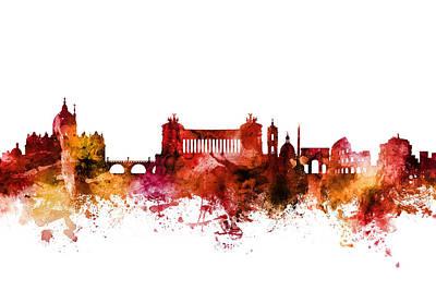 Digital Art - Rome Italy Skyline by Michael Tompsett