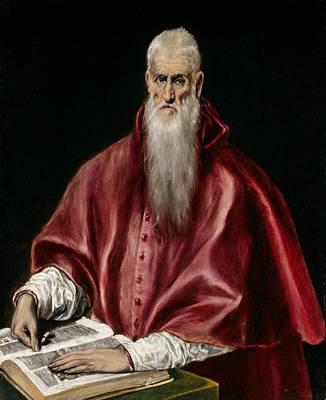 Scholar Painting - Saint Jerome As Scholar by El Greco