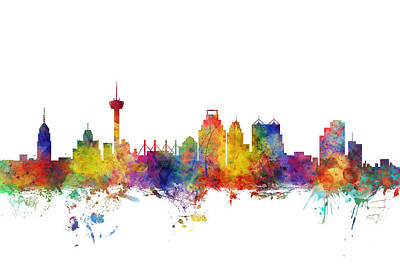 San Antonio Wall Art - Digital Art - San Antonio Texas Skyline by Michael Tompsett