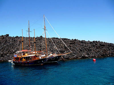 Blue Pirate Ships Landscape Photograph - Santorini by Leena Kewlani