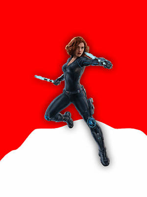 Scarlett Johansson Black Widow Art Print by Marvin Blaine