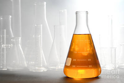 Erlenmeyer Flask Photograph - Scientific Experiment In Science Research Lab by Olivier Le Queinec