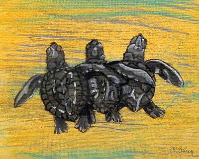 Green Sea Turtle Painting - Sea Turtles by MGilroy
