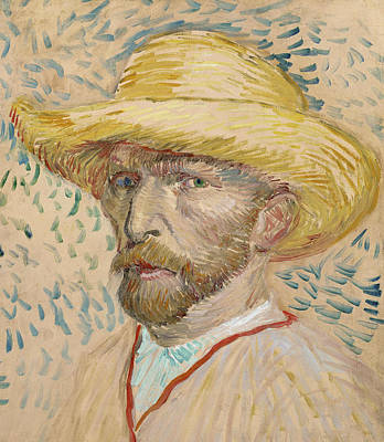 Self Portrait With Straw Hat Art Print by Vincent van Gogh