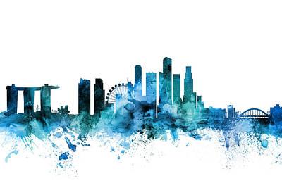Digital Art - Singapore Skyline by Michael Tompsett